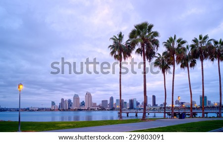Downtown City View and Palm Trees Panorama, Coronado Island of San Diego, California, USA - stock photo