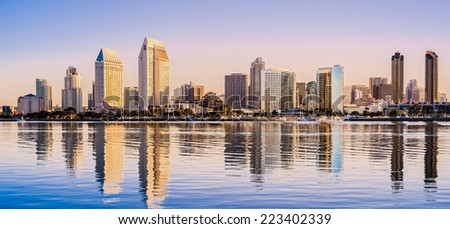 Downtown Cityscape at Dawn, San Diego California USA - stock photo