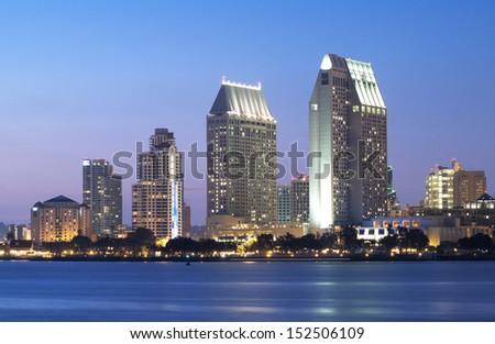 Downtown Cityscape of San Diego, California USA, California Tourism - stock photo