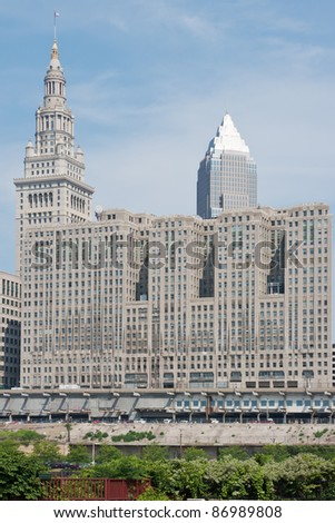 Downtown Cleveland, Ohio as seen from the south including the Tower City complex, the Terminal Tower, and the Key Bank building - stock photo