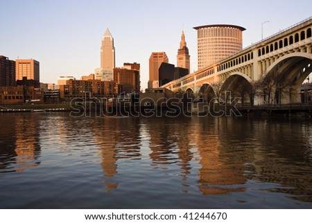 Downtown Cleveland, Ohio at sunset. - stock photo