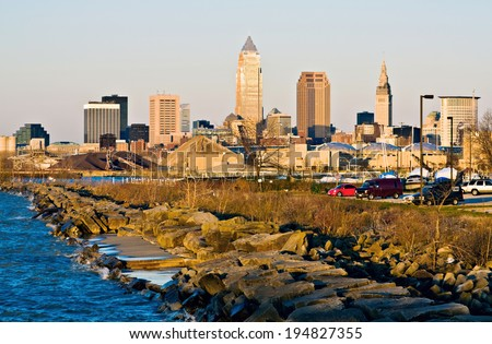 Downtown Cleveland, Ohio seen from EdgeWater Park - stock photo
