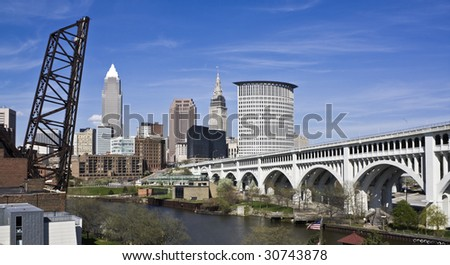 Downtown Cleveland - seen during late autumn. - stock photo