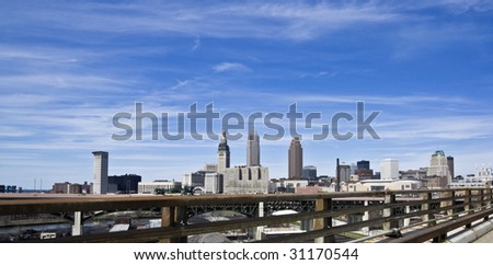 Downtown Cleveland under beatiful clouds