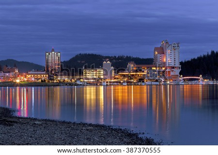 Downtown Coeur d'Alene, Idaho in evening.
