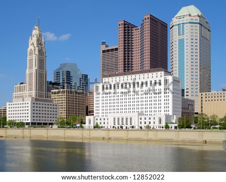 Downtown Columbus, Ohio and the Scioto River.