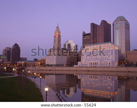 Downtown Columbus skyline at twilight - stock photo