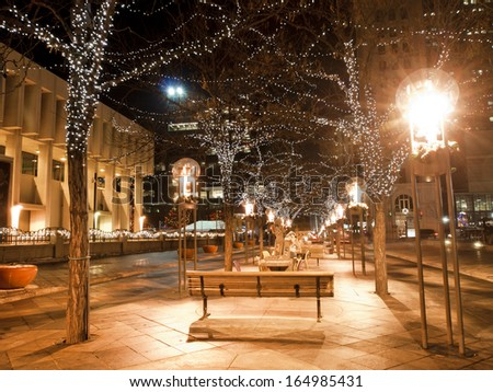 Downtown Denver at Christmas. 16th Street Mall lit up for the holidays. - stock photo