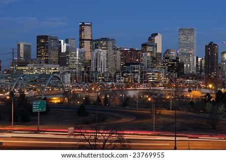 Downtown Denver at dusk, long exposure - stock photo