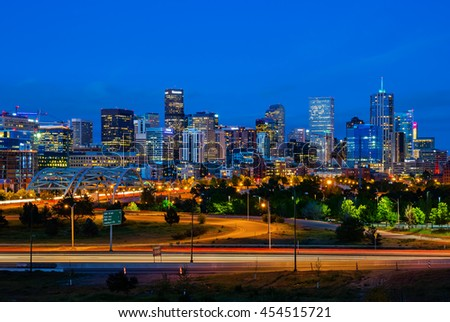 Downtown Denver Colorado at night - stock photo