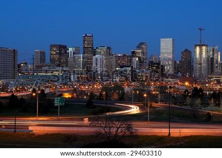 Downtown Denver Colorado skyline at dusk - stock photo