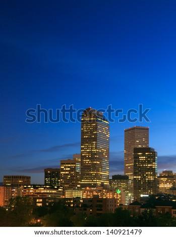 Downtown Denver Skyline at Blue Hour - stock photo