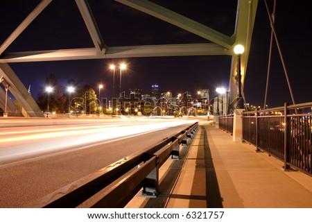 downtown denver through speer blvd, colorado - stock photo