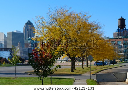 Downtown Des Moines, Iowa in Fall - stock photo