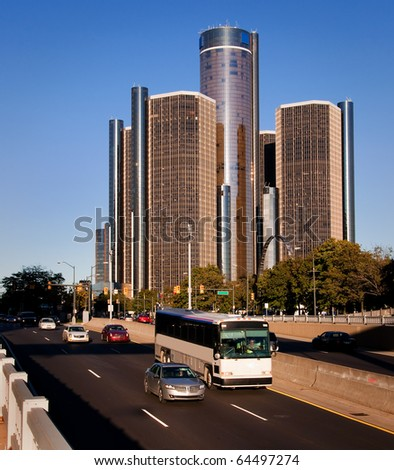 Downtown Detroit Fraffic - stock photo
