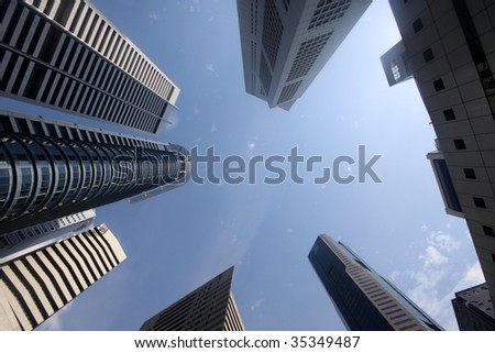 Downtown district of an Asian tiger state from below angle - stock photo