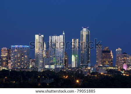 Downtown district of Austin at dusk. - stock photo