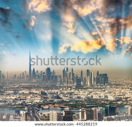 Downtown Dubai from helicopter. - stock photo