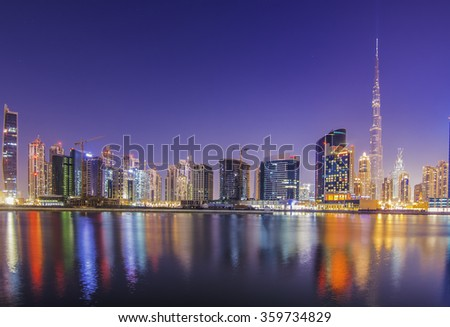 DOWNTOWN DUBAI, UAE - Jan 8: Burj Khalifa, the tallest skyscraper in the world standing at 829.8m in Dubai on January 8, 2016. Construction began in 2004 and officially opened in 2010.  - stock photo