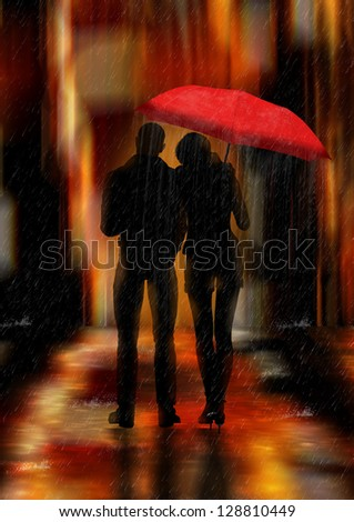 Downtown fantasy love and romance greeting card or background or wall art - stock photo