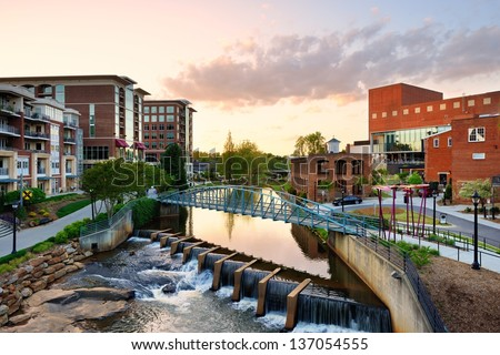 Downtown Greenville, South Carolina, USA. - stock photo