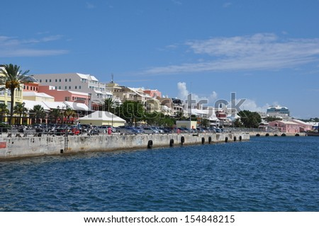 Downtown Hamilton in Bermuda - stock photo
