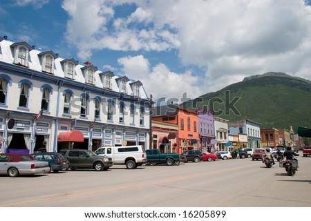 Downtown historic Silverton, Colorado during the summer. - stock photo