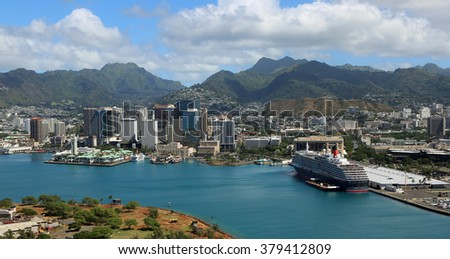 Downtown Honolulu - view from helicopter, Oahu, Hawaii - stock photo