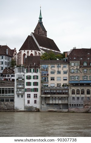 Downtown houses along the Rhine river in Basel, Switzerland - stock photo