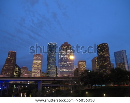 Downtown Houston at dusk