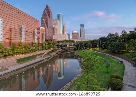 Downtown Houston from Franklin Street - stock photo