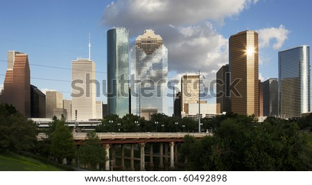 Downtown Houston seen from the Bayou - stock photo