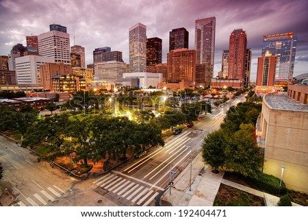 Downtown Houston Skyline at Dusk - stock photo