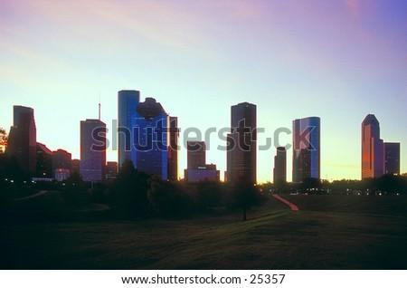 Downtown Houston, Texas at sunrise. - stock photo