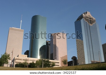 Downtown Houston viewed from a speedboat on the bayou