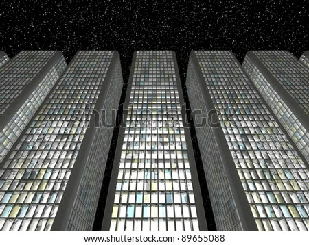 Downtown in the twilight: Abstract skyscrapers and starry sky - stock photo