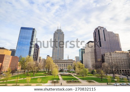 Downtown Indianapolis skyline with blue sky  - stock photo