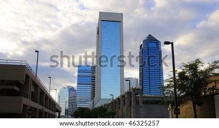 Downtown Jacksonville at Dusk - stock photo
