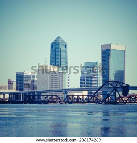Downtown Jacksonville, Florida with Filter Effects. - stock photo