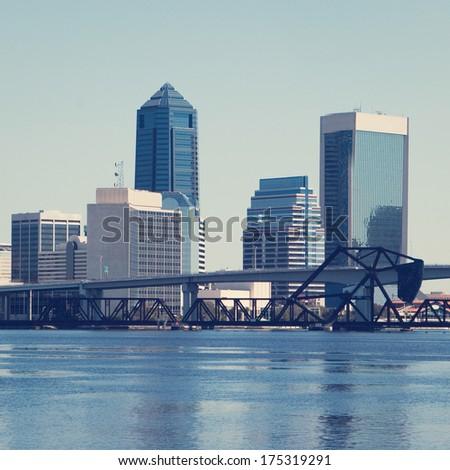 Downtown Jacksonville, Florida with retro effect. - stock photo