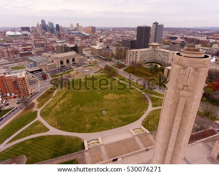 Downtown Kansas City Missouri with the World War 1 Memorial Aerial View