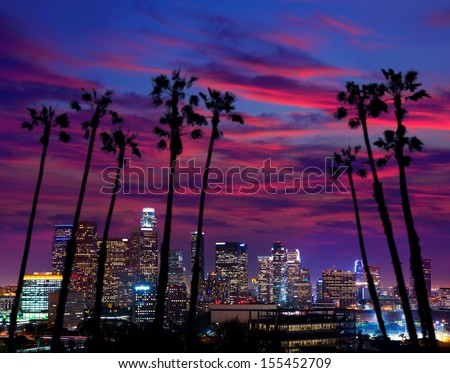Downtown LA night Los Angeles sunset colorful skyline California [photo illustration] - stock photo