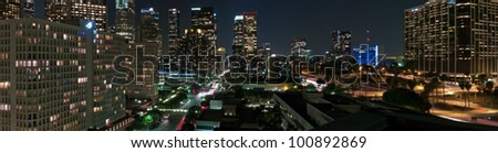 Downtown LA panorama - stock photo