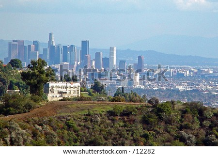 Downtown Los Angeles, as seen from Bel Air - stock photo
