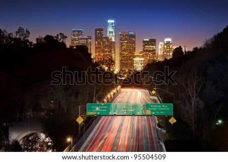 Downtown Los Angeles at night. - stock photo