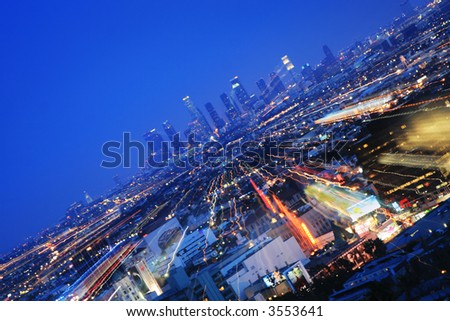 Downtown Los Angeles at twilight. Zoom in. - stock photo