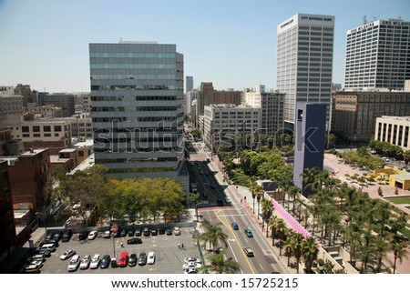 downtown Los Angeles  California as seen from the roof of a building - stock photo