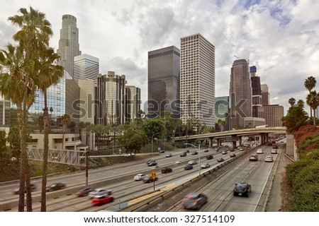 Downtown Los Angeles during the morning commute - stock photo