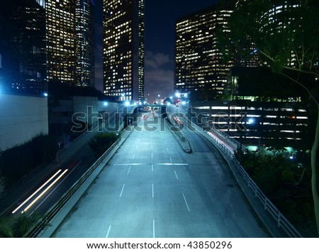 Downtown Los Angeles. Modern city street, late at night. - stock photo