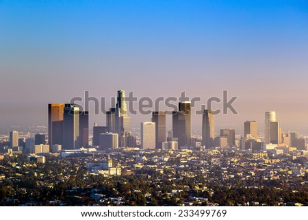 Downtown Los Angeles skyline at twilight CA.